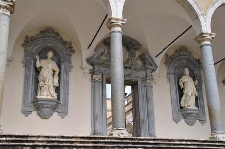 Some of the many beautiful sculptures inside the Monastery at Monte Cassino.
