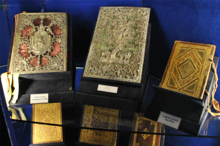 Some of the many vintage religious books displayed at the historic museum at the Monastery at Monte Cassino.