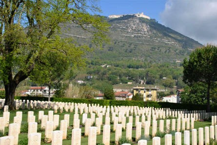 The Monastery at Monte Cassino seen from the Commonwealth War Cemetery in the town of Cassino.