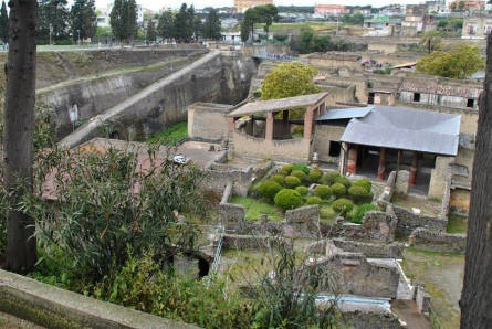 A look down at a small section of Herculaneum. At the left of the picture it is possible to get an idea about how deep Herculaneum got buried in 79 AC.