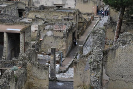 The remains of some of the houses in Herculaneum.