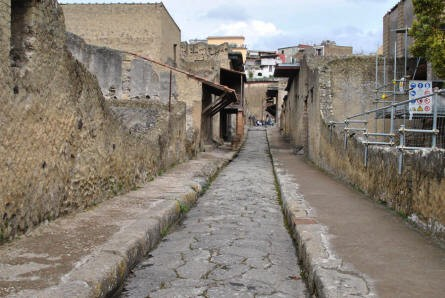 One of the narrow streets in Herculaneum