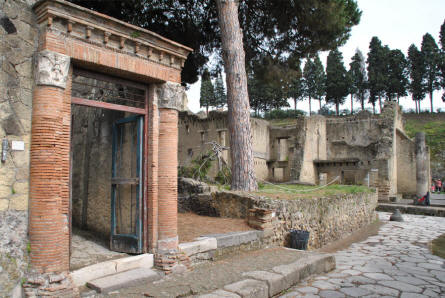 Some of the many buildings in Herculaneum. In the background it is possible to get an idea about how deep Herculaneum got buried in 79 AC. The trees are at the edge of the excavation area.