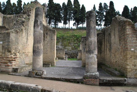 Some of the many pillars and columns that can be seen in Herculaneum.