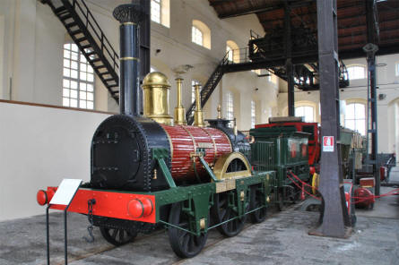 One of the oldest steam locomotives displayed at the Pietrarsa National Railway Museum in Napoli.