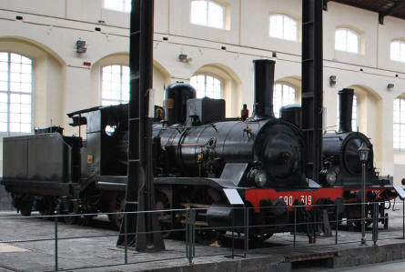 Two of the many beautifully restored vintage steam locomotives displayed at the Pietrarsa National Railway Museum in Napoli.