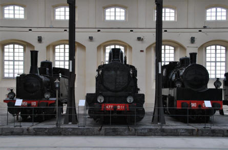 Some of the many different vintage steam locomotives displayed at the Pietrarsa National Railway Museum in Napoli.