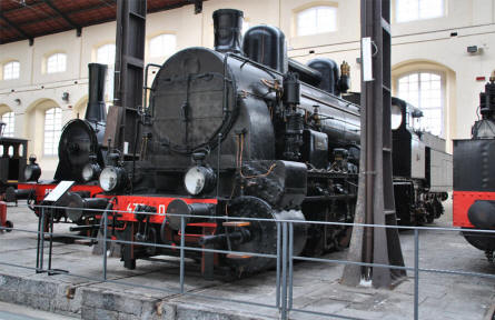 Some of the many beautifully restored vintage steam locomotives displayed at the Pietrarsa National Railway Museum in Napoli.
