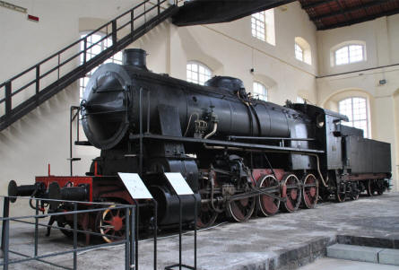 One of the many huge vintage steam locomotives displayed at the Pietrarsa National Railway Museum in Napoli.