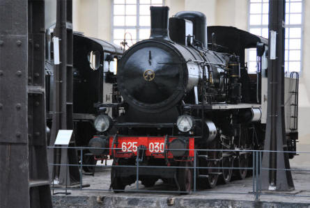 One of the many vintage steam locomotives displayed at the Pietrarsa National Railway Museum in Napoli.