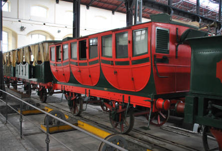 Some of the oldest wagons displayed at the Pietrarsa National Railway Museum in Napoli.