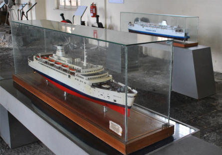 Some of the many railway ferry models displayed at the Pietrarsa National Railway Museum in Napoli.