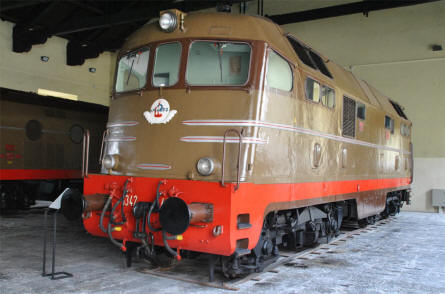 One of the many classic diesel trains displayed at the Pietrarsa National Railway Museum in Napoli.