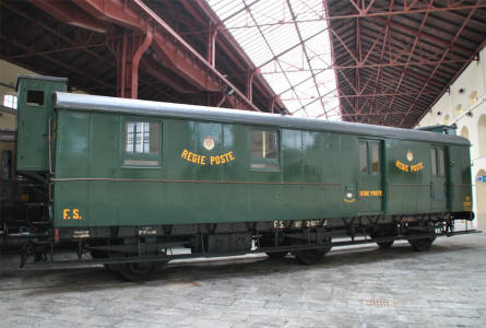 A classic postal wagon displayed at the Pietrarsa National Railway Museum in Napoli.