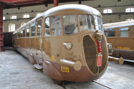 A classic train - manufacture by FIAT - displayed at the Pietrarsa National Railway Museum in Napoli.