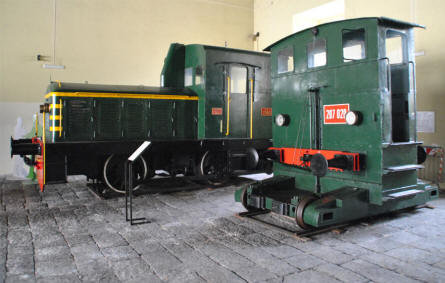 Some of the classic shunting locomotive displayed at the Pietrarsa National Railway Museum in Napoli.