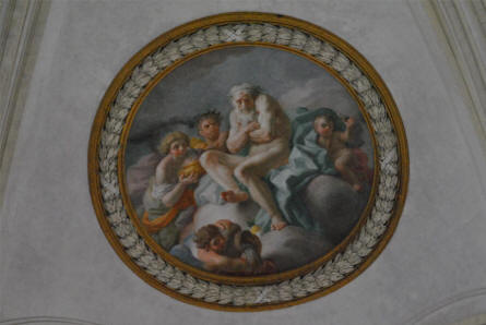One of the many extremely beautiful ceiling paintings at the Royal Palace of Caserta.