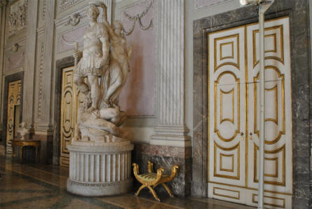 At the inside most of the Royal Palace of Caserta is made in marble and gold.