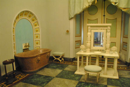 Some vintage bathroom furniture displayed at the Royal Palace of Caserta.