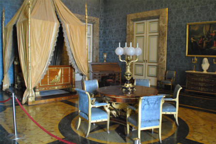 One of the bed rooms at the Royal Palace of Caserta.