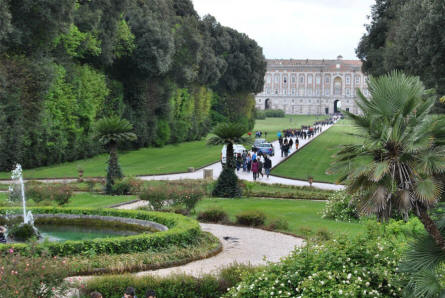 The Royal Palace of Caserta seen from the park.