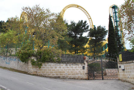 An outside view of a roller coaster at the Zoo Safari Fasanolandia in Fasano.