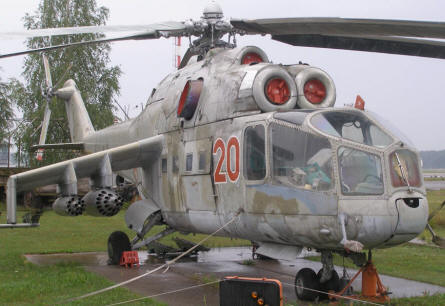 Mil-24 Hind-A attack helicopter at the Riga Aviation Museum.