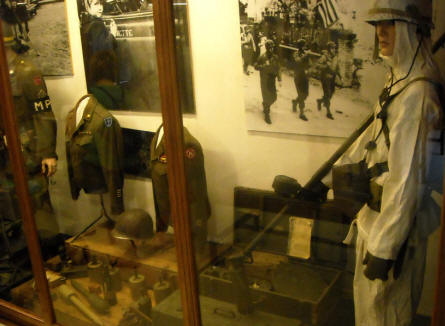 American World War II uniforms displayed at the General Patton Memorial museum in Ettelbruck.