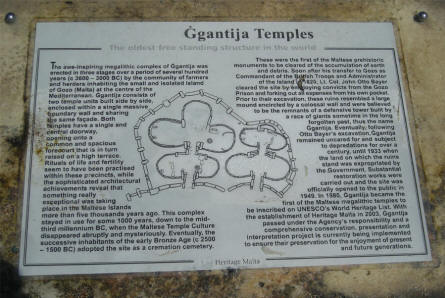 An information sign at the The Ggantija Temples at the island of Gozo.