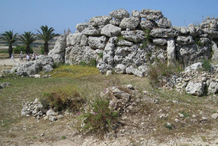 A part of the Ggantija Temples - a Neolithic, megalithic temple complex at island of Gozo.
