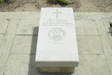The World War II grave of 2nd Lieutenant G.R.E. Follett (died on the 30th of January 1941) at the Imtarfa Military Cemetery on Malta.