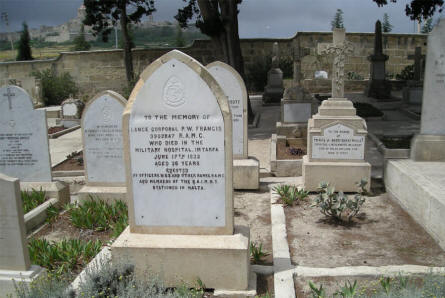 Some of the earlier graves at the Imtarfa Military Cemetery on Malta. This Lance Corporal died in 1932.