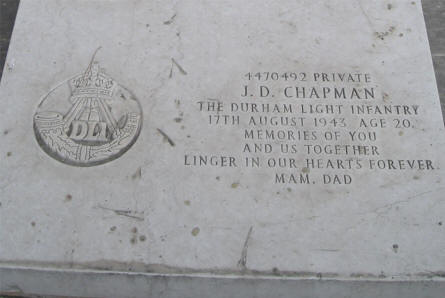 The World War II grave of Private J.D. Chapman (died 17th of August 1943) at the Imtarfa Military Cemetery on Malta.