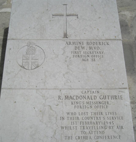 One of the more special World War II graves at the Imtarfa Military Cemetery on Malta. First Secretary of the Foreign Office Armine Roderick and Captain R. MacDonald Guthrie were killed on the 1st of February 1945 when they were flying to the Crimea (Yalta) Conference - one of the most important meeting between Roosevelt, Churchill and Stalin during the war.
