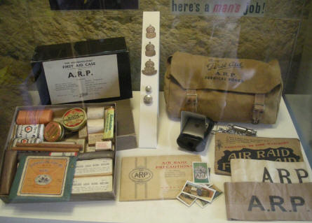 "First aid kit and air raid ""stuff"" at the Malta at War Museum."