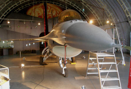 A modern American built Lockheed F-16 Fighting Falcon at the Polish Aviation Museum Cracow.