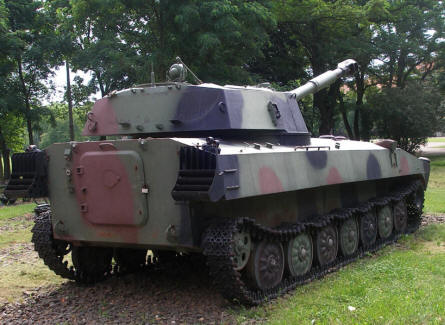 One of the self-propelled guns displayed at the out-door exhibition at the Armoured Weapon Museum - Poznan.