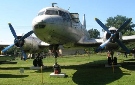 An Ilyushin Il-14 transport aircraft displayed at the Lubuskie Military Museum.