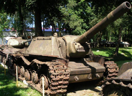 Some of the World War II Russian tanks displayed at the Lubuskie Military Museum.