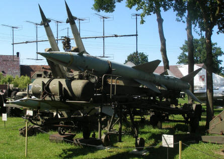 A Russian S-75 missile system displayed at the Lubuskie Military Museum.