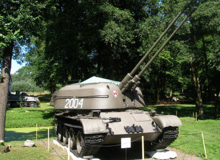 An armoured Russian anti-aircraft gun displayed at the Lubuskie Military Museum.