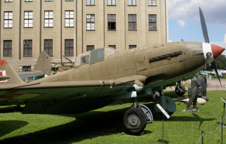 A Russian built World War II Ilyushin Il-2 Sturmovik dive bomber displayed at the Polish Army Museum in Warszawa.