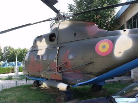 "A ""Cold War"" Romanian built IAR 330 Puma helicopter displayed at the National Military Museum in Bucharest."