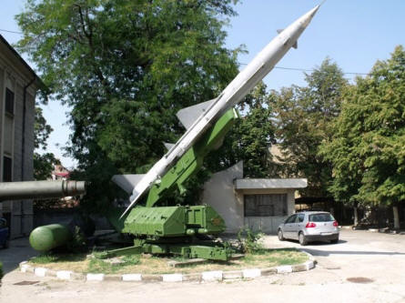 "A ""Cold War"" rocket launcher displayed at the National Military Museum in Bucharest."
