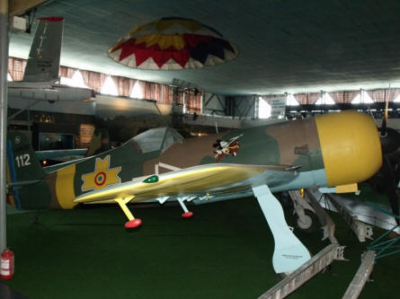 This IAR-80 World War II fighter is displayed at the National Museum of Romanian Aviation in Bucharest.