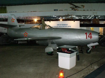 This very early Yakovlev Yak-23 jet fighter is displayed at the National Museum of Romanian Aviation in Bucharest.