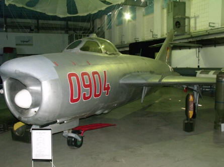 "A ""Cold War"" MIG-17 Fresco jet fighters displayed at the National Museum of Romanian Aviation in Bucharest."