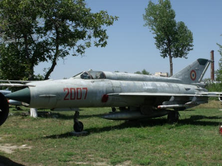 "One of the ""Cold War"" MIG-21 Fishbed jet fighters displayed at the National Museum of Romanian Aviation in Bucharest."
