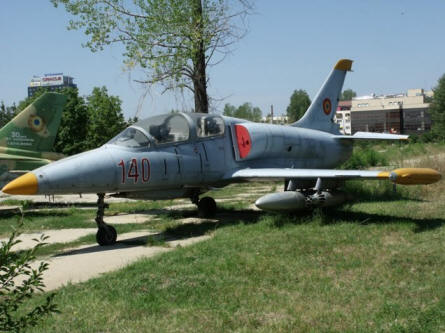 "This ""Cold War"" Aero L-39ZA Albatros jet trainer and ground attack aircraft is displayed at the National Museum of Romanian Aviation in Bucharest."