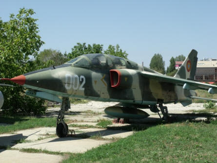 "This ""Cold War"" IAR-93DC ground attack aircraft is displayed at the National Museum of Romanian Aviation in Bucharest."
